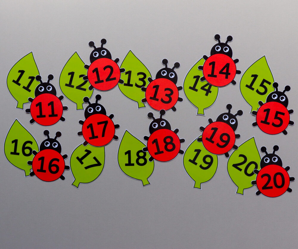 Cijferkaarten thema lieveheersbeestjes - leerbubbels