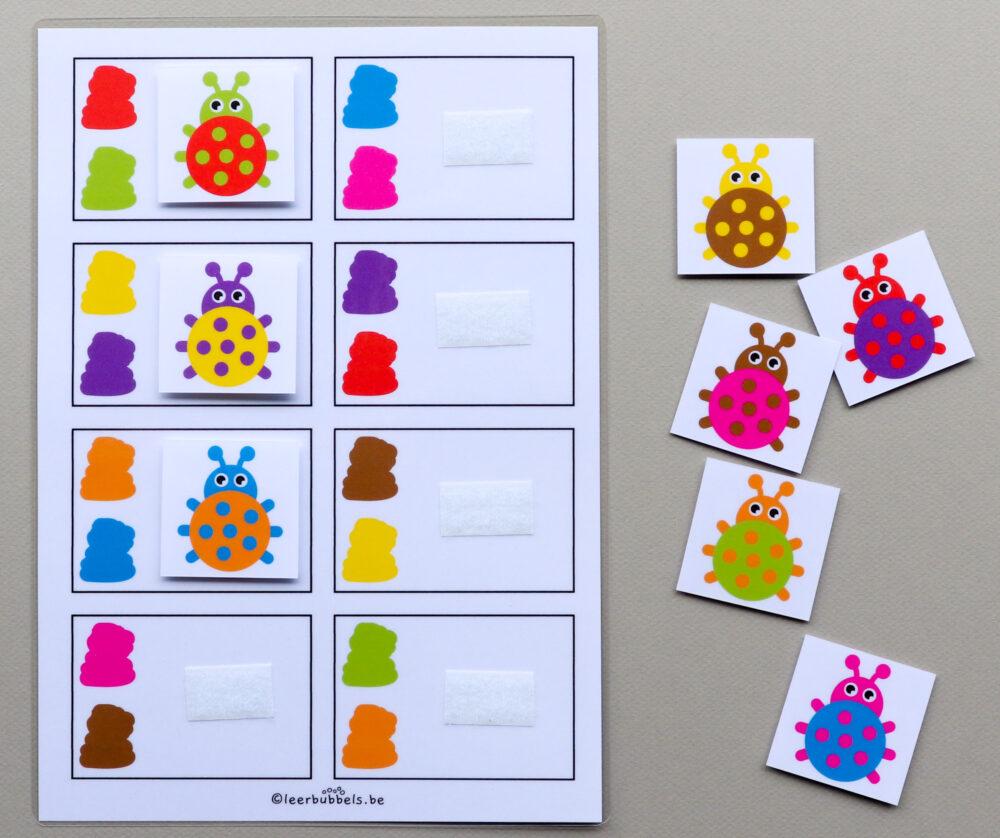 Combikaarten kleuren thema lieveheersbeestjes - leerbubbels