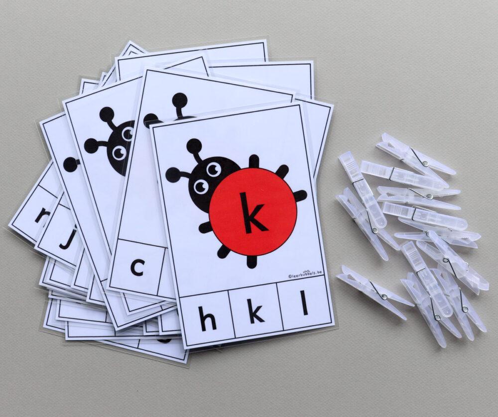 Knijpkaarten letters thema lieveheersbeestjes - leerbubbels
