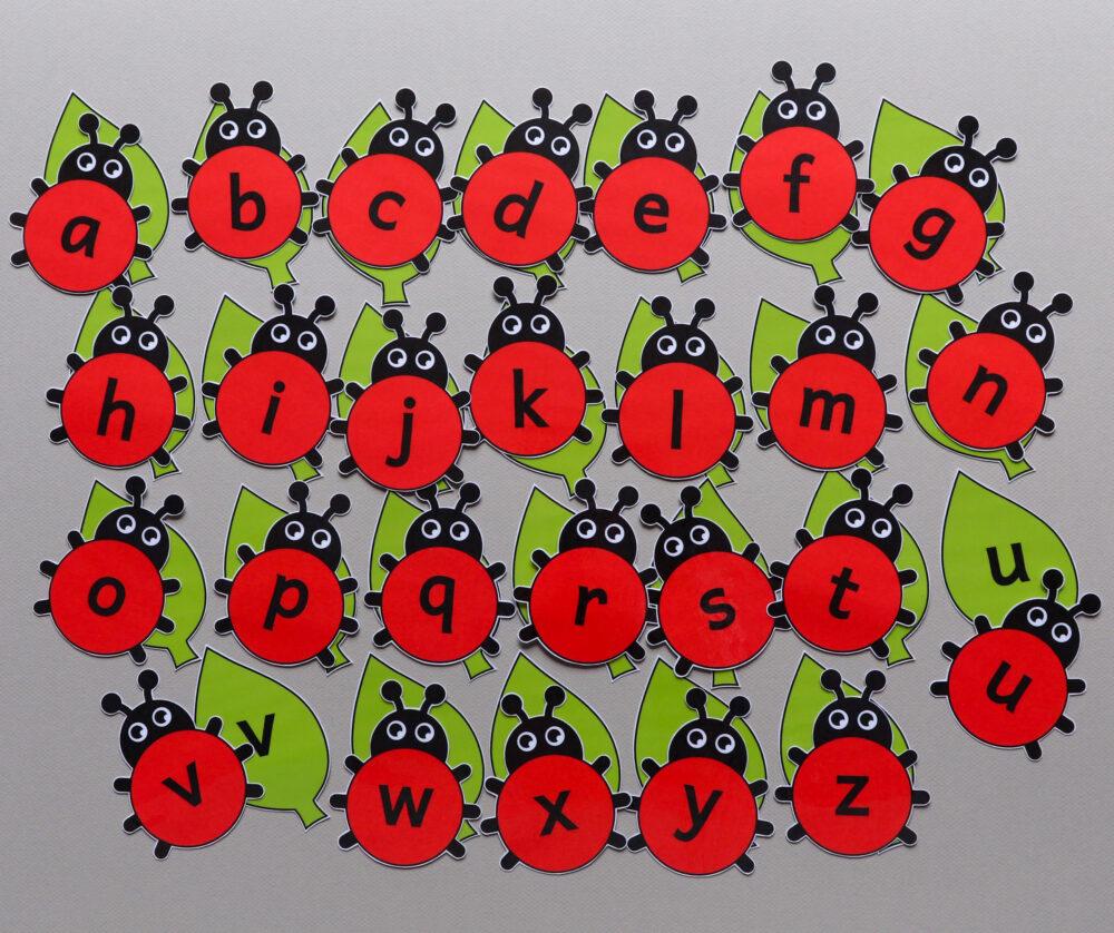 Letterkaarten thema lieveheersbeestjes - leerbubbels