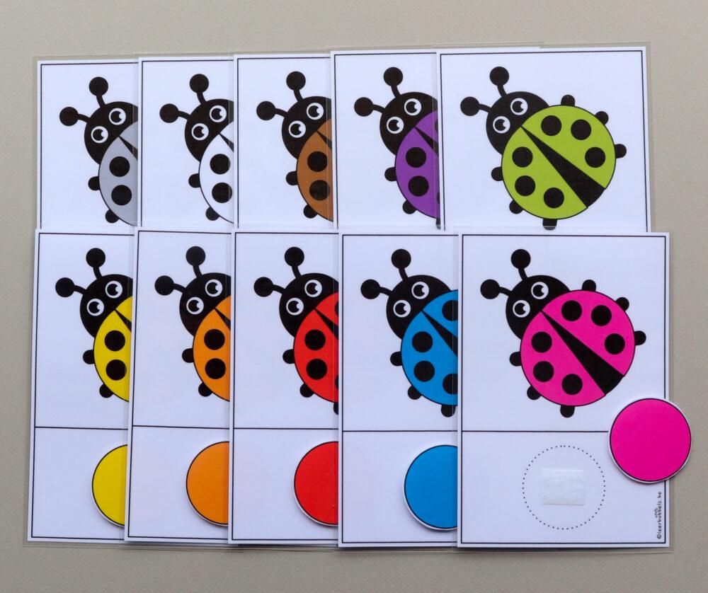 Matchkaarten kleuren thema lieveheersbeestjes - leerbubbels
