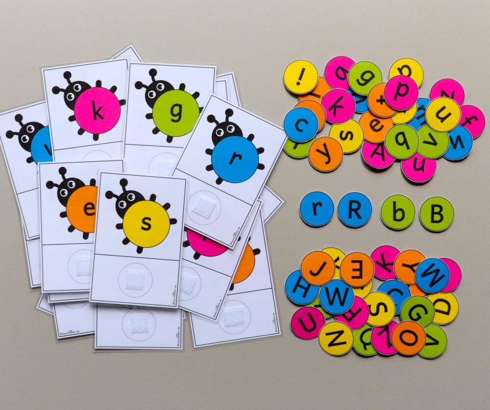 Matchkaarten letters thema lieveheersbeestjes - leerbubbels