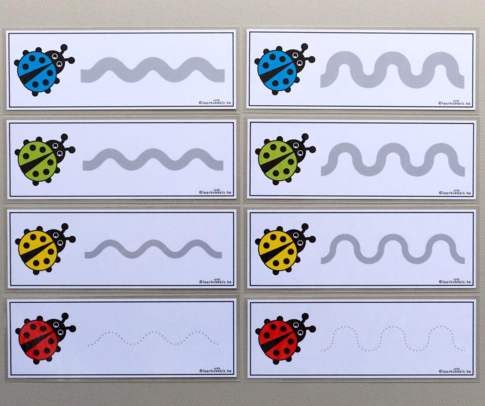 Schrijfkaarten thema lieveheersbeestjes - leerbubbels