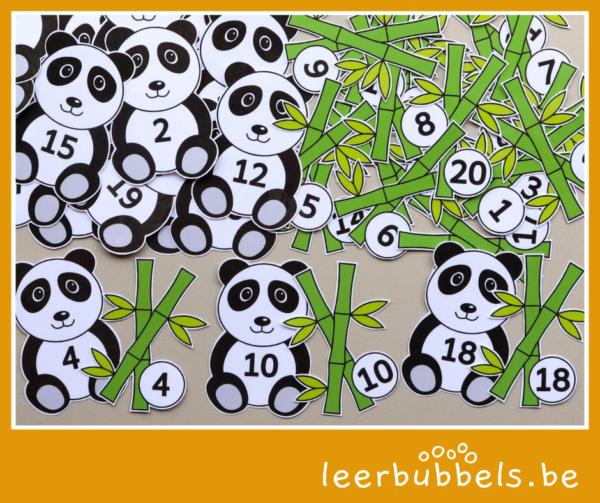 Cijferkaartjes pandabeer