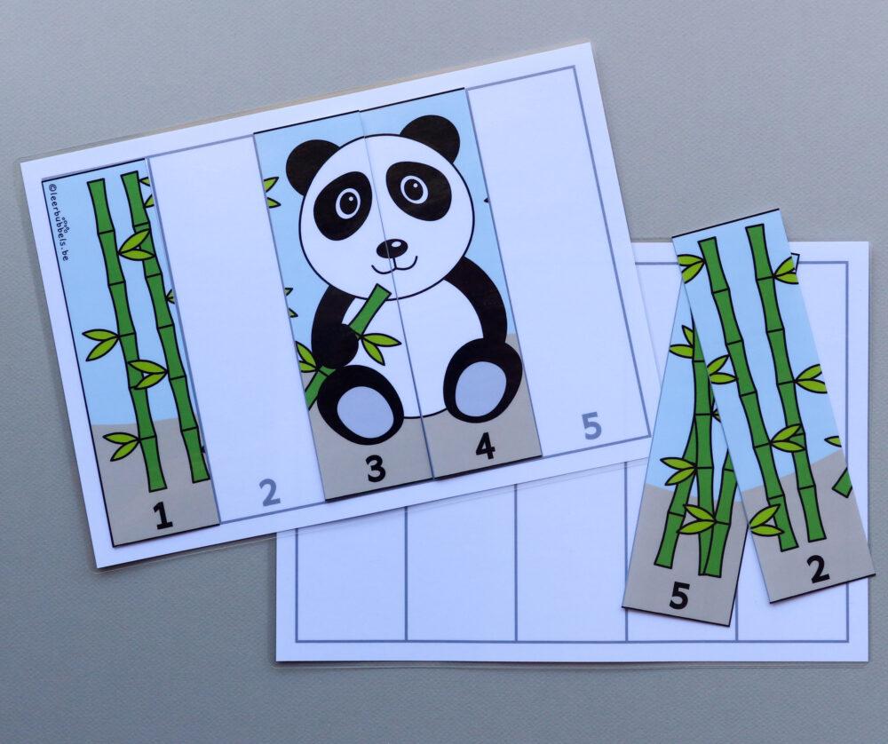 Cijferpuzzel pandabeer - leerbubbels