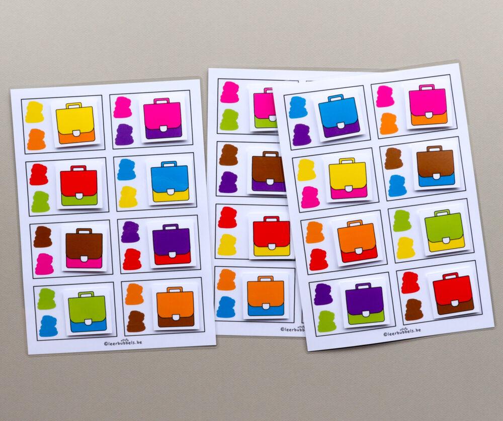Combikaarten kleuren boekentas