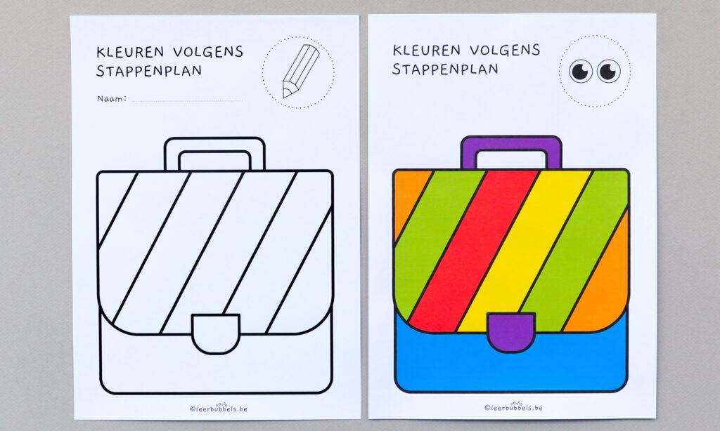 Kleuren volgens stappenplan thema boekentas