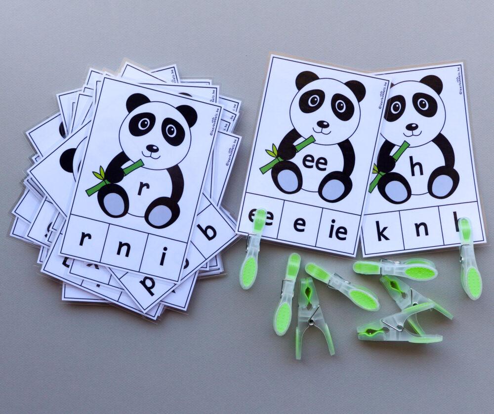 Knijpkaarten letters pandaberen - leerbubbels