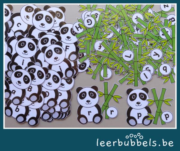 Letterkaartjes pandaberen - leerbubbels