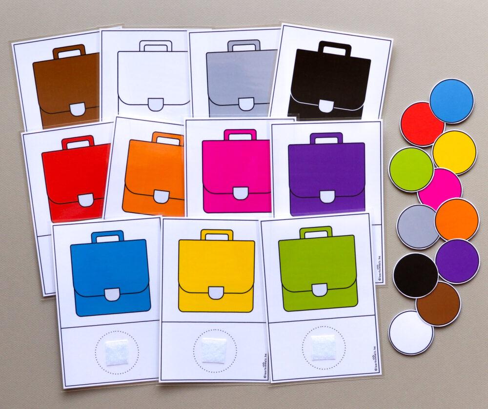 Matchkaarten kleuren boekentas