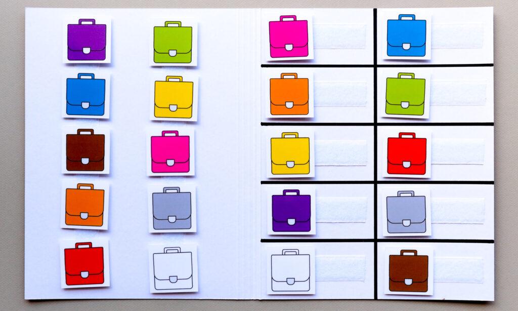 Matchmap kleuren thema boekentas
