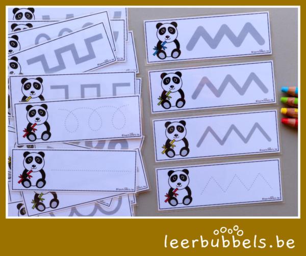 Schrijfkaarten pandaberen - leerbubbels