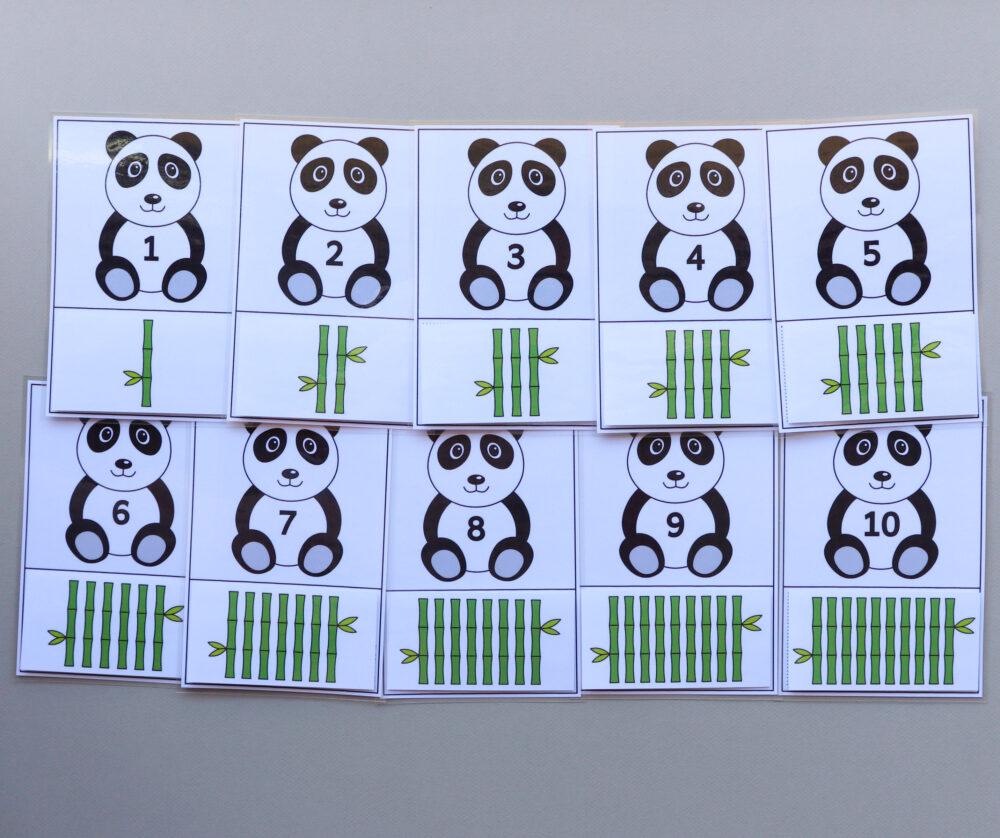 Telkaarten cjifers pandaberen - leerbubbels