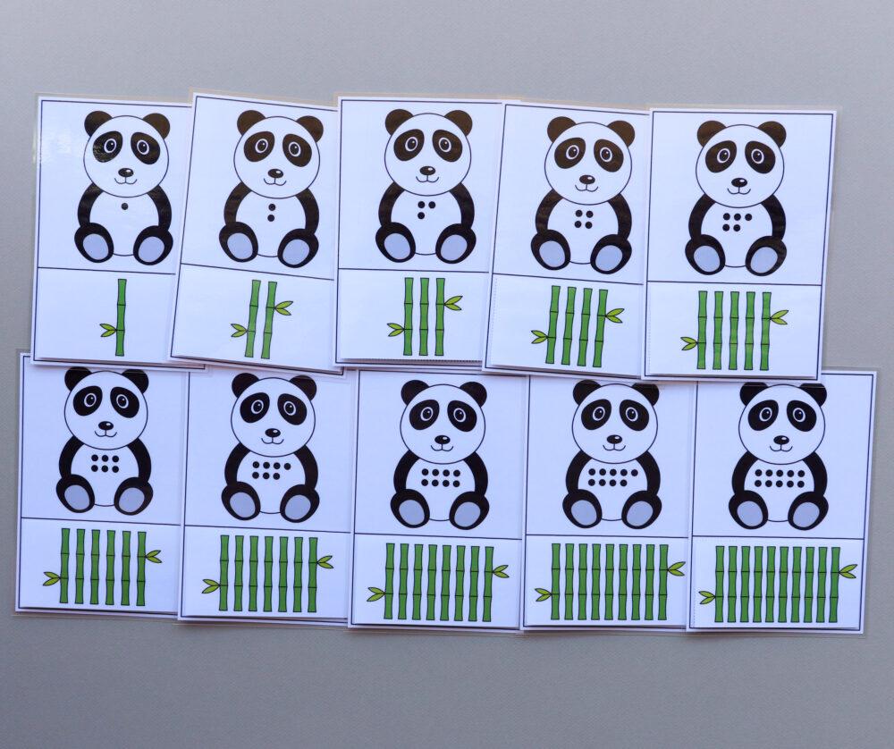 Telkaarten getalbeelden pandaberen - leerbubbels