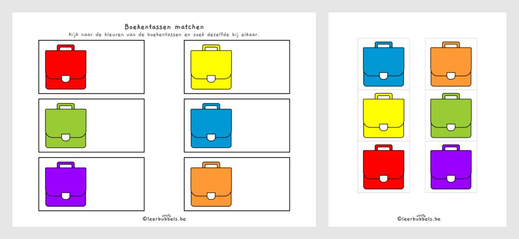 Werkblad 6 kleuren thema boekentas