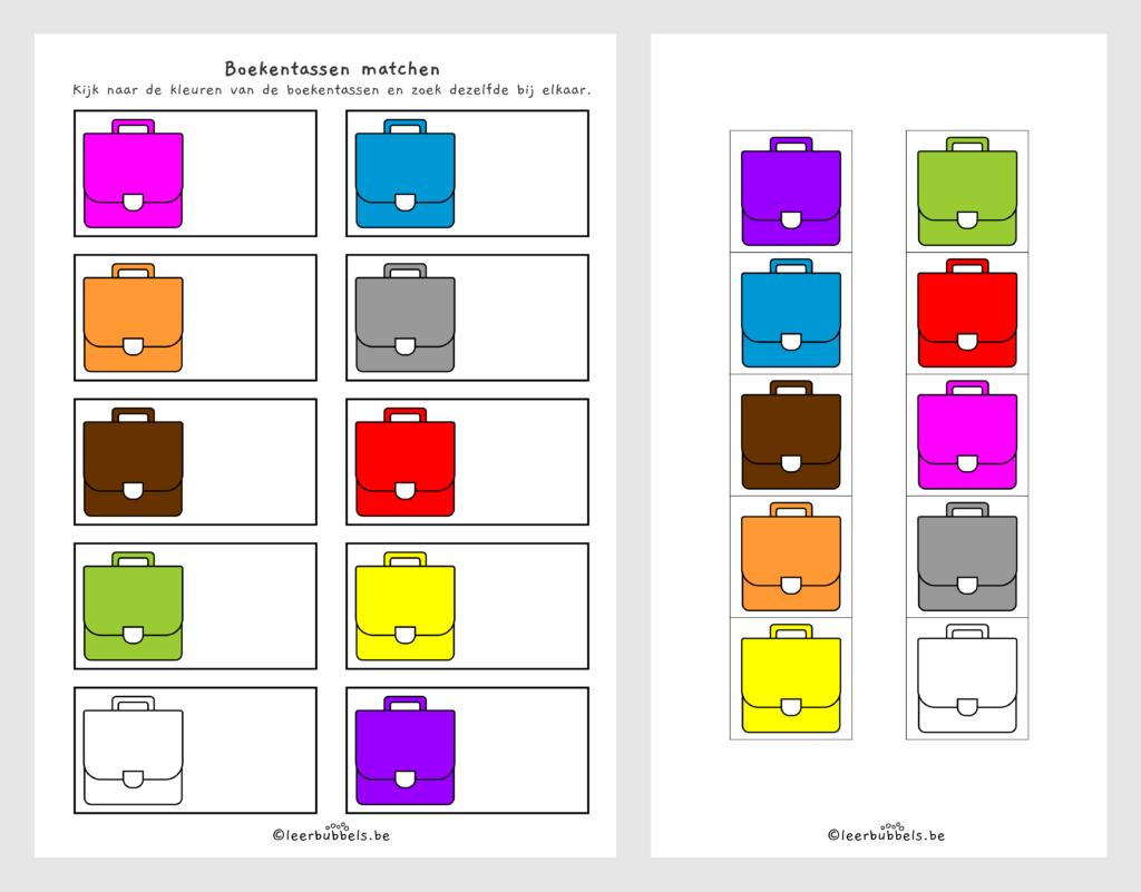 Werkblad 10 kleuren thema boekentas