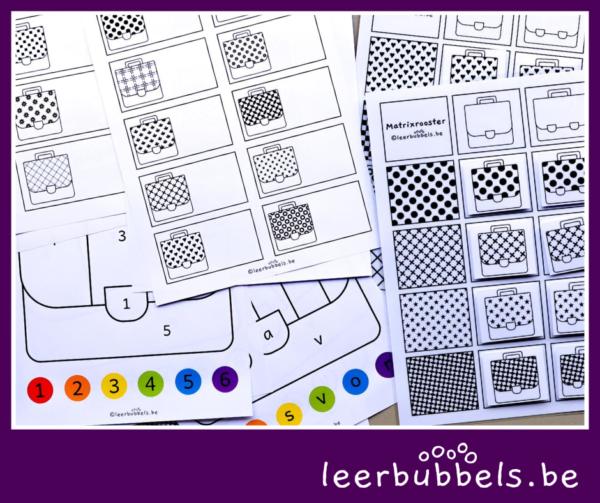 Werkbladen leesbubbels boekentas