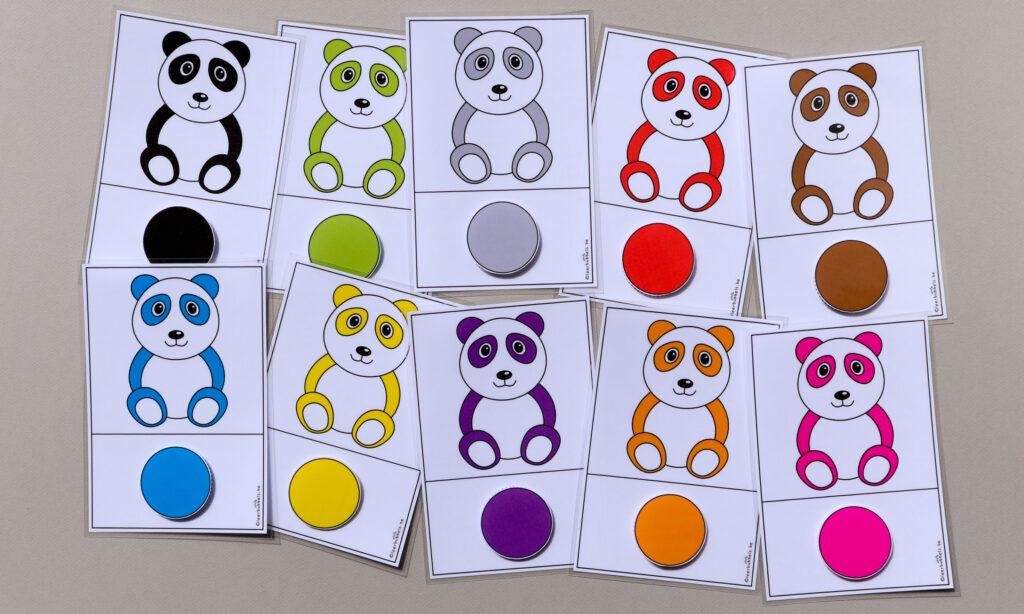 Matchkaarten kleuren thema pandaberen