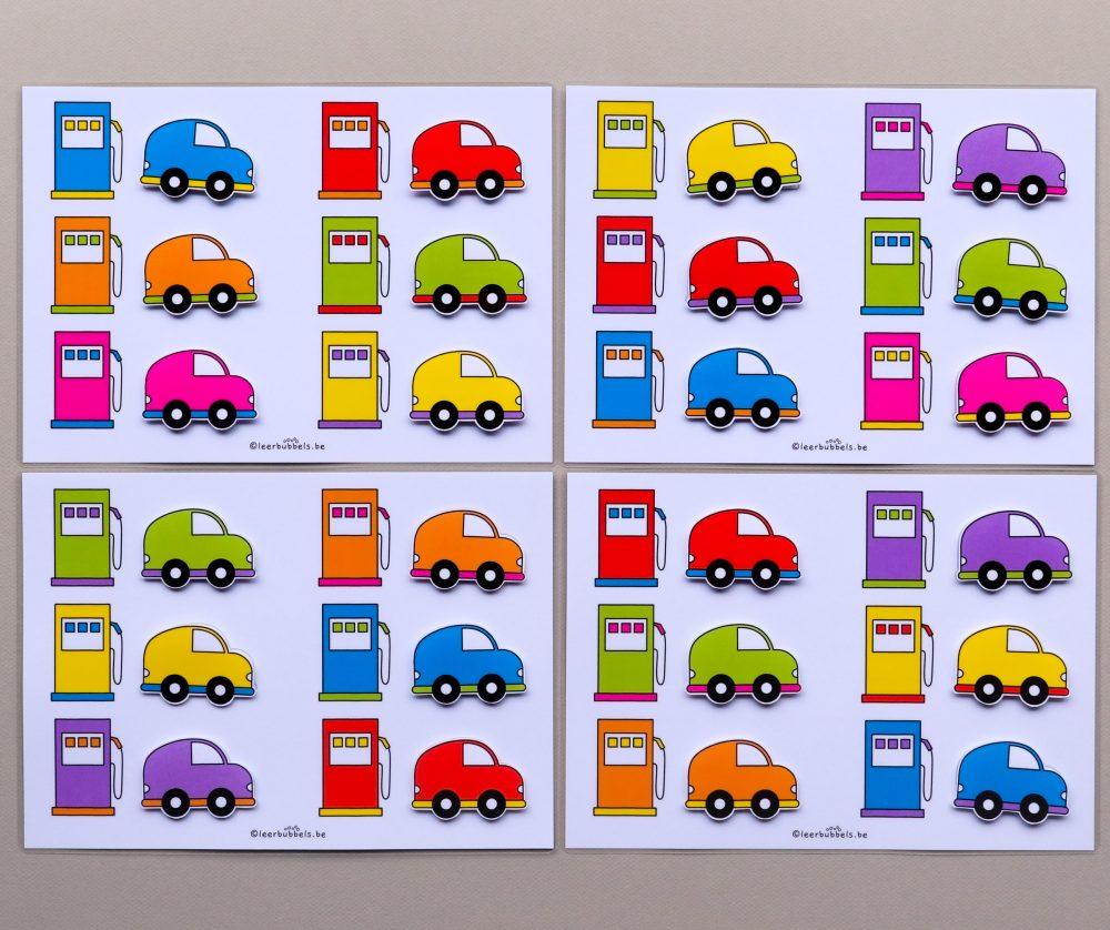 Matchkaarten 2 kleuren thema auto's