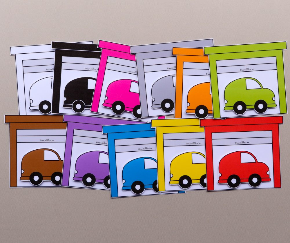 Matchkaarten kleuren thema auto's