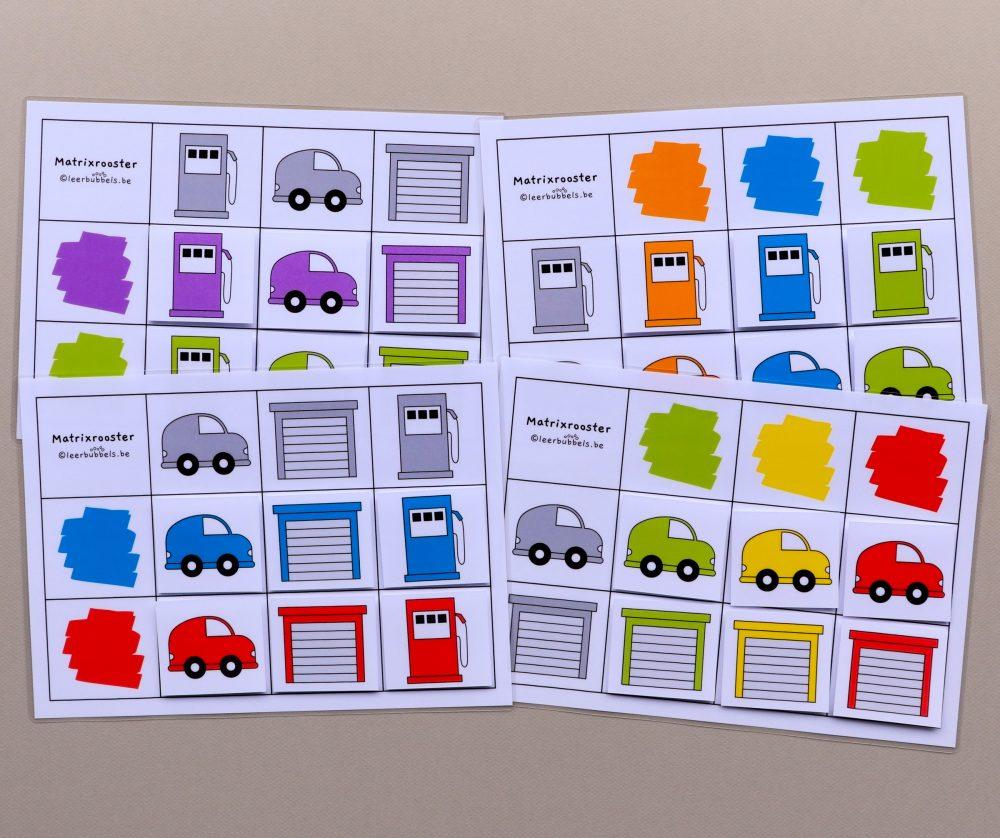 Matrixroosters kleuren thema auto's 6 kaartjes