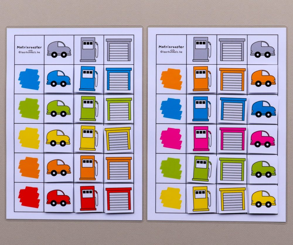 Matrixroosters kleuren thema auto's 15 kaartjes