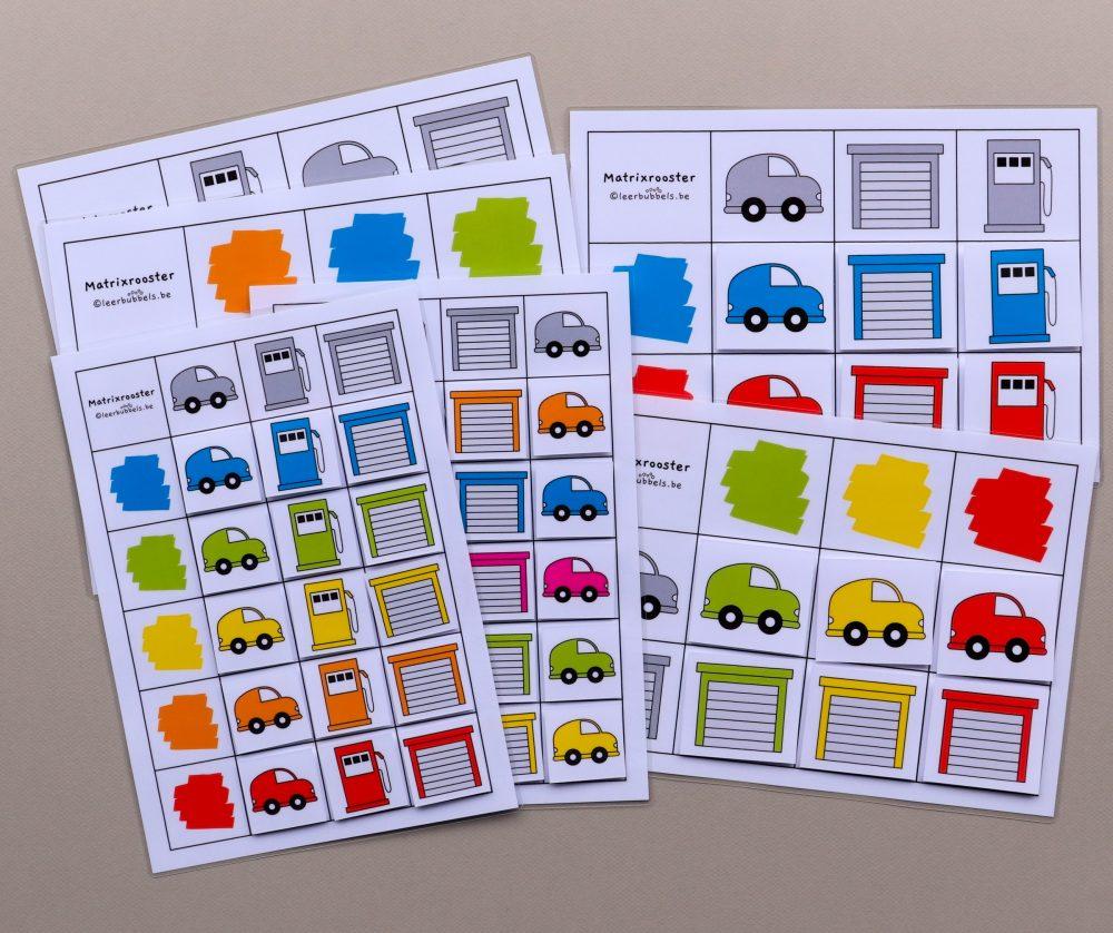 Matrixroosters kleuren thema auto's