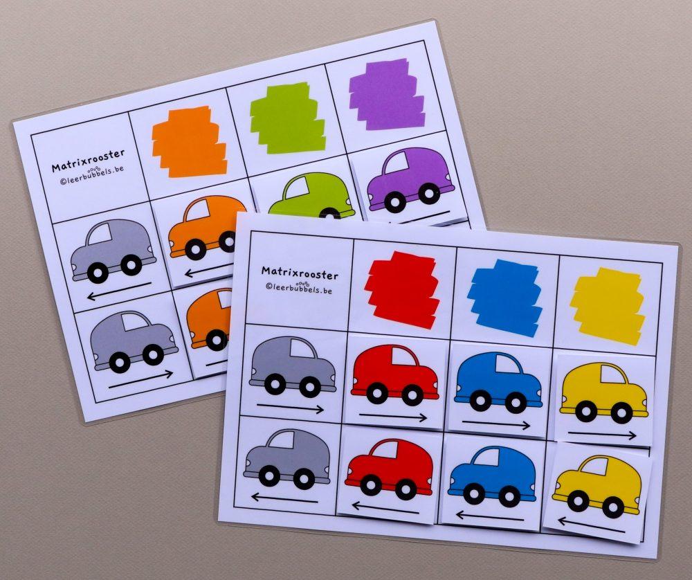 Matrixroosters richting thema auto's 6 kaartjes