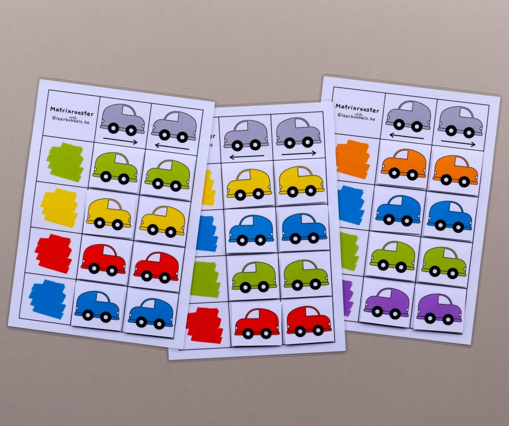 Matrixroosters richting thema auto's 8 kaartjes