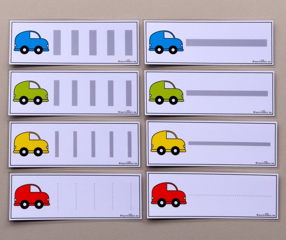 Schrijfkaarten thema auto's