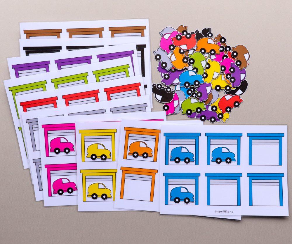 Sorteerspel kleuren thema auto's