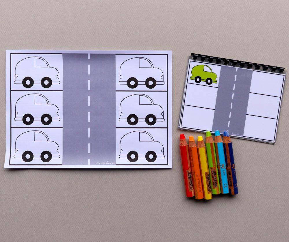 Kleuren met stappenplan thema auto's