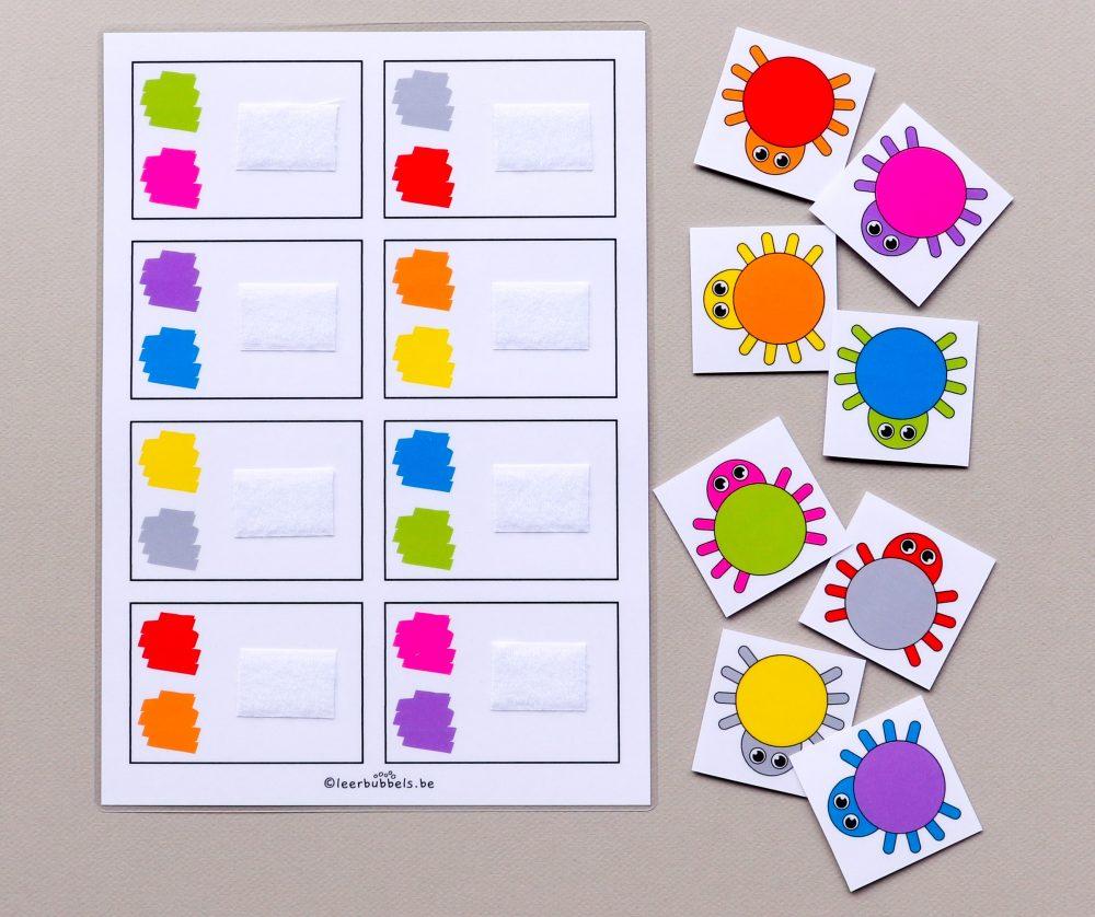 Twee kleuren combineren thema spinnen