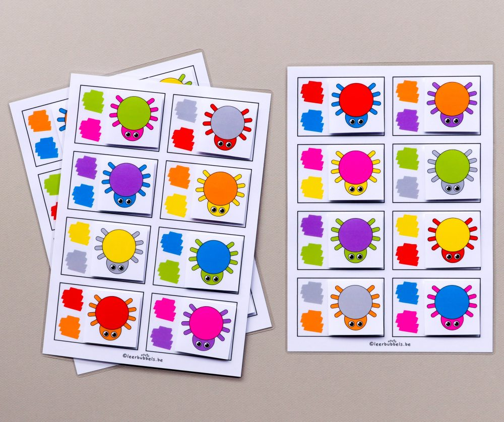 Combikaarten 2 kleuren thema spinnen
