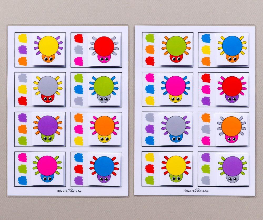 Combikaarten 3 kleuren thema spinnen