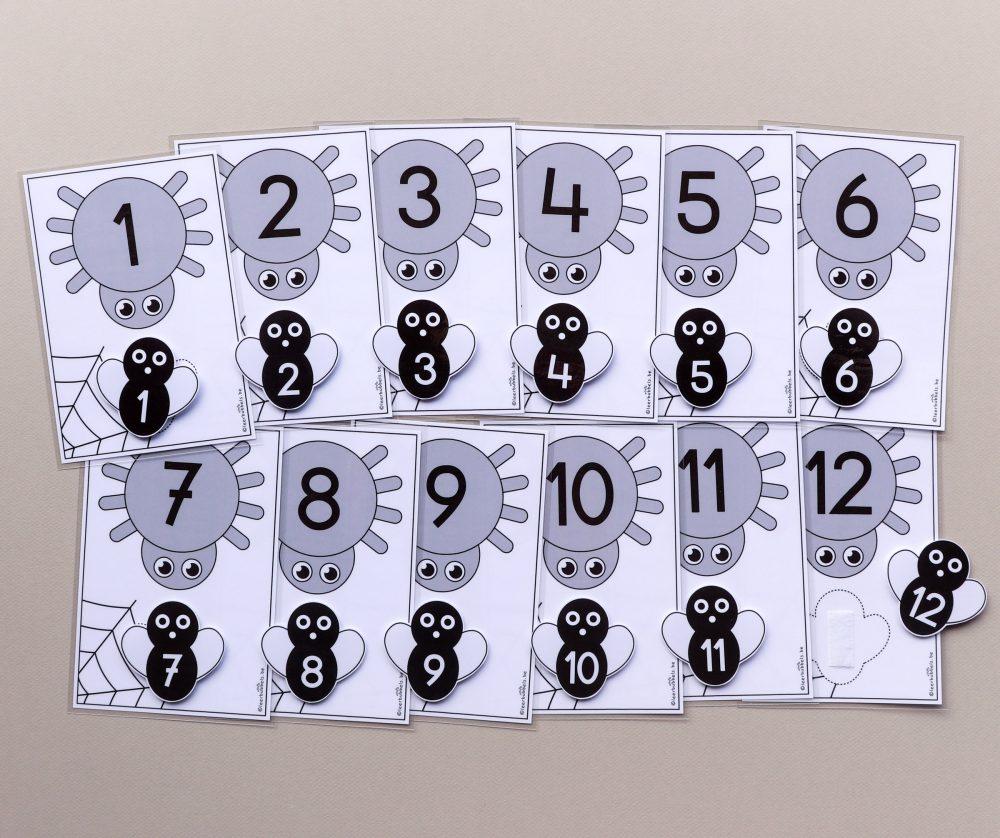 Matchkaarten cijfers thema spinnen