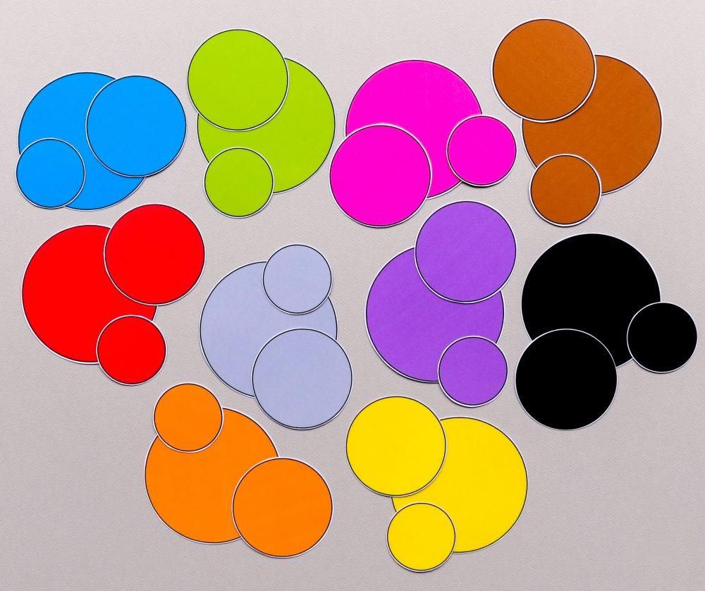 Kleurschijfjes voor het meet en kleurenspel