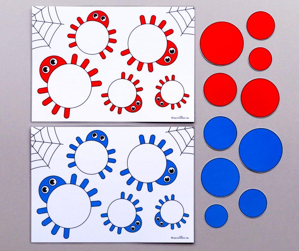 Meet en kleurenspel thema spinnen