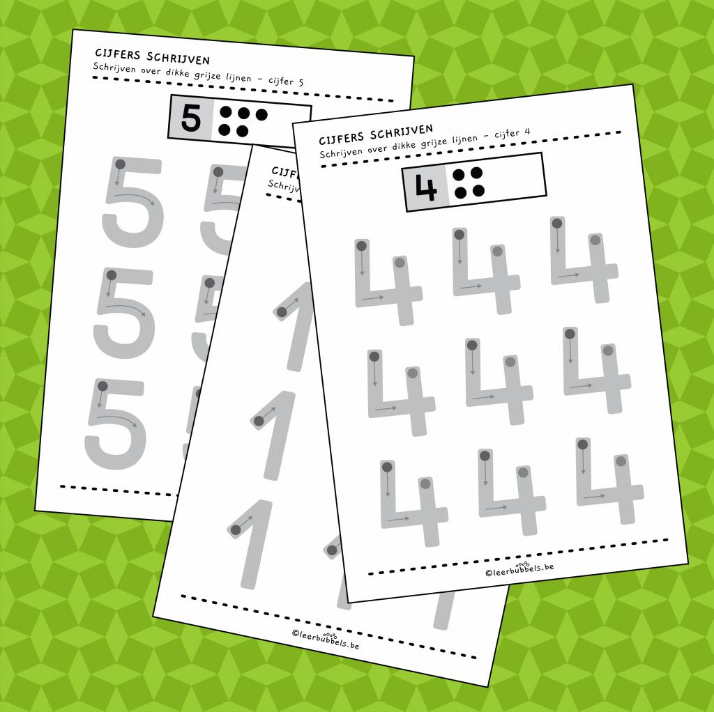 Werkbladen cijfers leren schrijven
