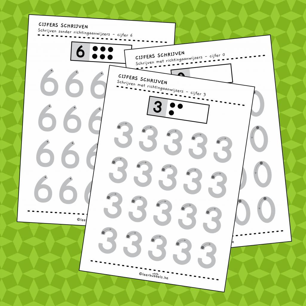 Werkbladen cijfers schrijven met of zonder richtingaanwijzers