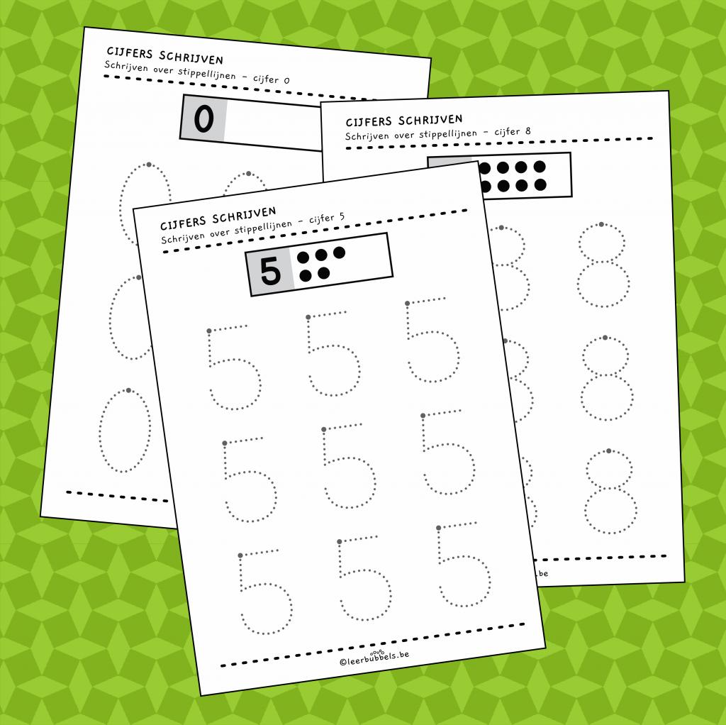 Stippellijnen overschrijven werkbladen cijfers schrijven