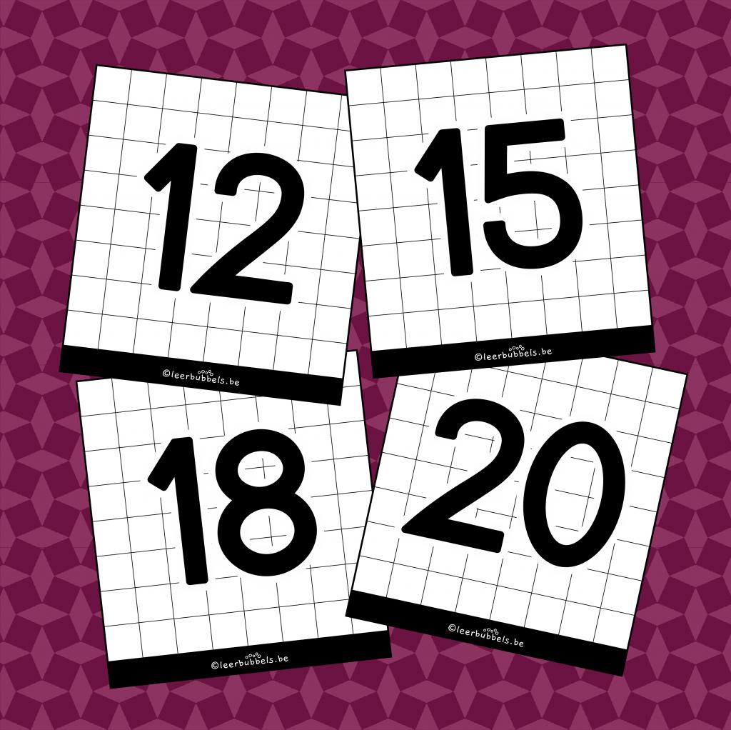 Flitskaarten van leerbubbels cijfers 11 tot 20