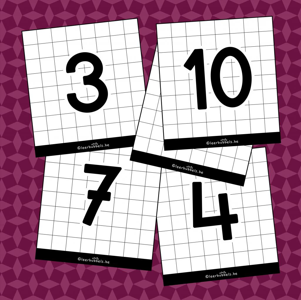Flitskaarten van leerbubbels cijfers van 0 tot 10