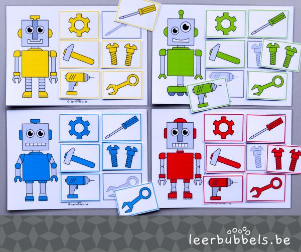 Kleuren lottospel thema robots