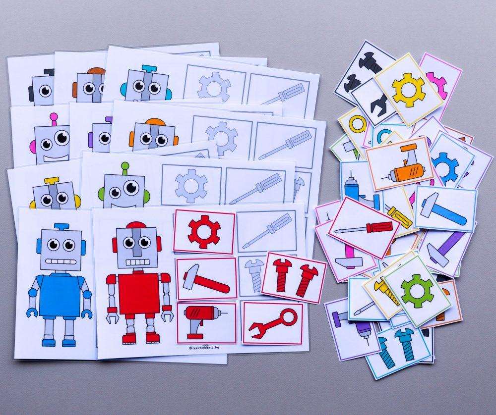 Lottospel met kleuren thema robot