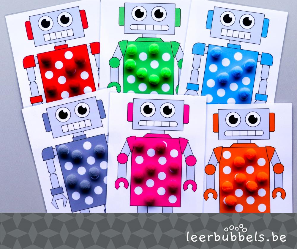 Telspel met pompons thema robots