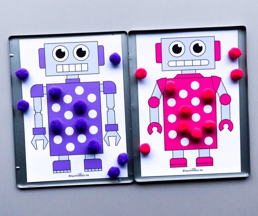 Pomponspel met magneten thema robot