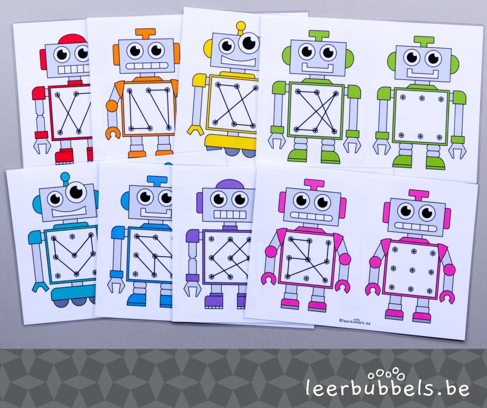 Raamfiguren voor kleuters in thema robot