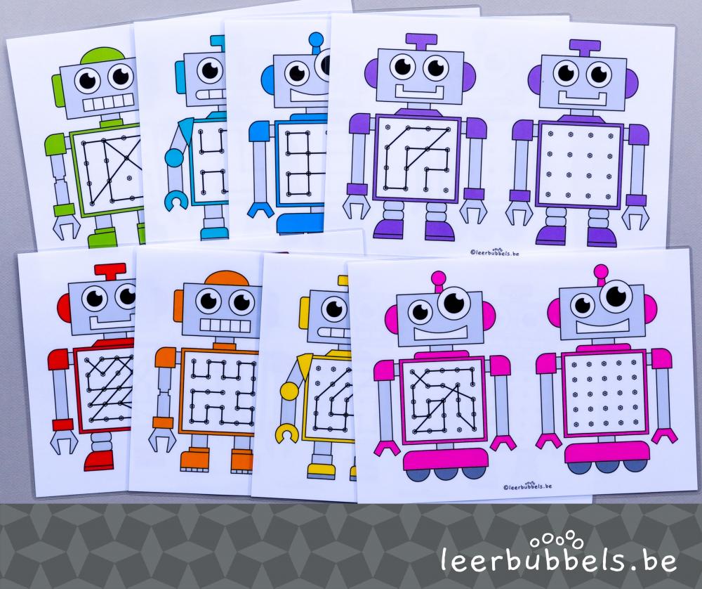 Raamfiguren voor speelleerklas in thema robot