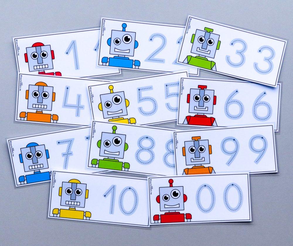 Schrijfkaarten thema robot - cijfers met grijze lijnen